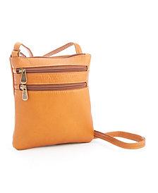 Royce New York Double Zip Cross Body Bag