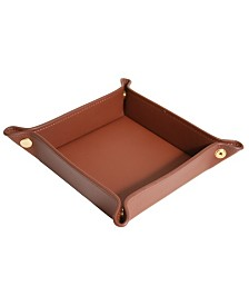 Royce New York Leather Catchall Snap Valet Tray