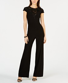 Adrianna Papell Embroidered Illusion Jumpsuit
