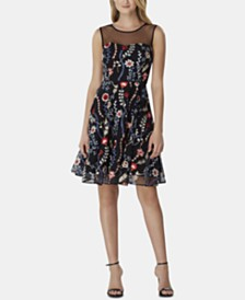 Tahari ASL Embroidered Floral Mesh Dress
