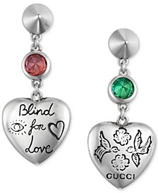 Cubic Zirconia Blind for Love Heart Drop Earrings in Sterling Silver
