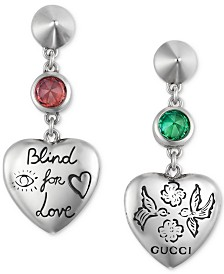 Gucci Cubic Zirconia Blind for Love Heart Drop Earrings in Sterling Silver