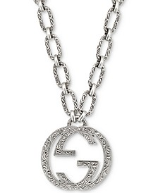 "Interlocking G 35-1/2"" Pendant Necklace in Sterling Silver"