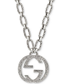 "Gucci Interlocking G 35-1/2"" Pendant Necklace in Sterling Silver"