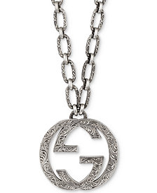 "Gucci Interlocking G 35"" Pendant Necklace in Sterling Silver, YBB52489100100U"