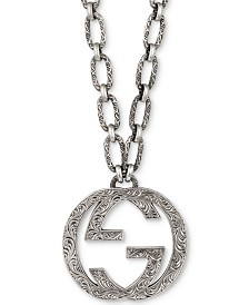 "Gucci Interlocking G 35"" Pendant Necklace in Sterling Silver"