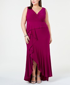 Adrianna Papell Plus Size Cascade Gown