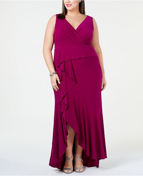 Adrianna Papell Plus Size Cascade Gown & Reviews - Dresses - Plus ...