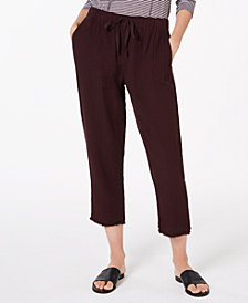 Eileen Fisher Organic Cotton Crinkle Drawstring Pants, Regular & Petite