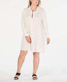 Eileen Fisher Plus Size Cotton Shirtdress