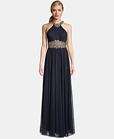 Petite Halter-Neck Embroidered Gown