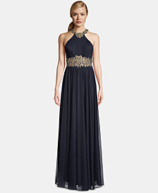 Betsy & Adam Petite Halter-Neck Embroidered Gown