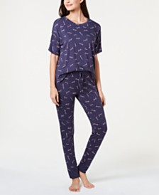 Jenni by Jennifer Moore Core Short-Sleeve Top & Pajama Pants Sleep Separates, Created for Macy's