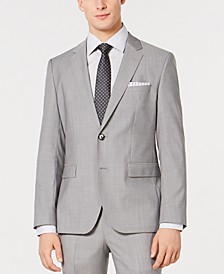 HUGO Men's Slim-Fit Light Gray Tonal Grid Suit Jacket