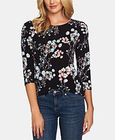 CeCe Ruched-Shoulder Floral-Print Top