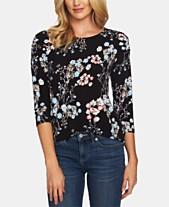 CeCe Ruched-Shoulder Floral-Print Top 44157576edb
