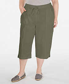 Karen Scott Plus Size Cotton Edna Capris, Created for Macy's