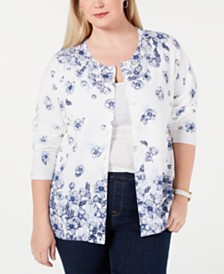 Karen Scott Plus Size Floral Cardigan, Created for Macy's