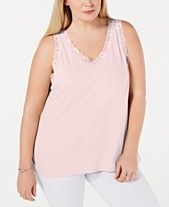 13a2c10ee76 Karen Scott Plus Size Scalloped Lace Tank Top
