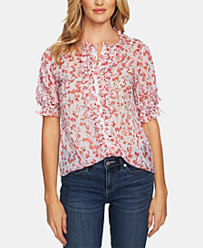 CeCe Floral-Print Ruffled Blouse