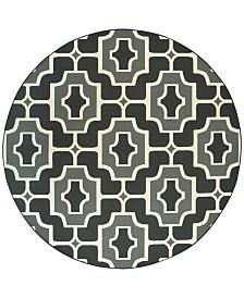 """Oriental Weavers Marina 1491Z Black/Gray 7'10"""" Indoor/Outdoor Round Area Rug"""