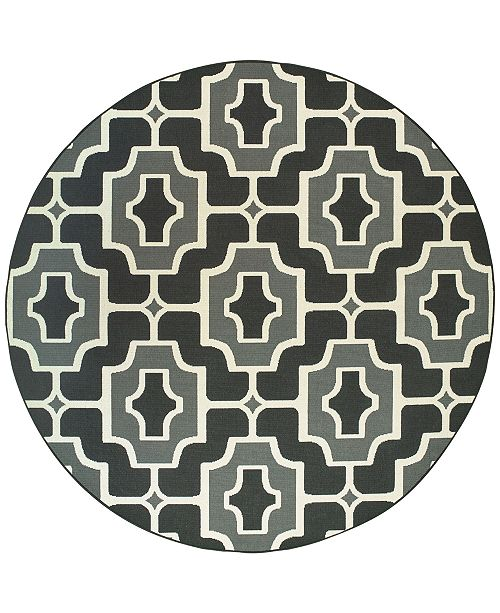 "Oriental Weavers Marina 1491Z Black/Gray 7'10"" Indoor/Outdoor Round Area Rug"