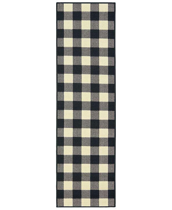 """Oriental Weavers Marina 1932K Black/Ivory 2'3"""" x 7'6"""" Indoor/Outdoor Runner Area Rug"""