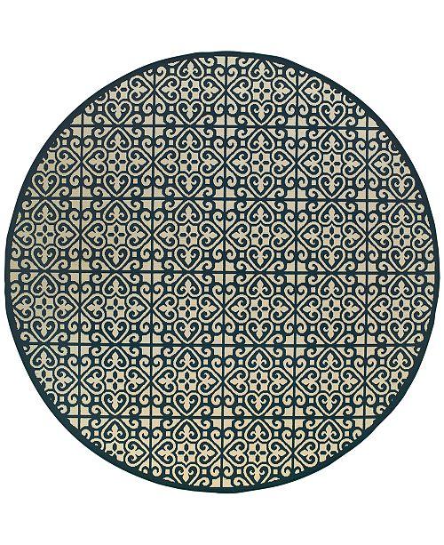 """Oriental Weavers Marina 5927B Ivory/Navy 7'10"""" Indoor/Outdoor Round Area Rug"""