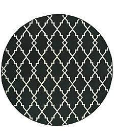 """Oriental Weavers Marina 7763K Black/Ivory 7'10"""" Indoor/Outdoor Round Area Rug"""