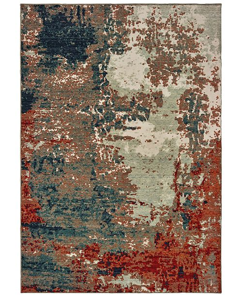 "Oriental Weavers Montage 092LE Blue/Rust 2'3"" x 10' Runner Area Rug"