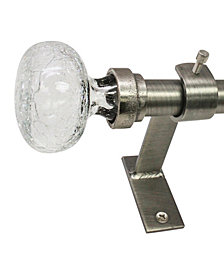 Decopolitan 3/4-Inch Crackle Glass Knob Telescoping Curtain Rod Set, 72 to 144-Inch, Pewter