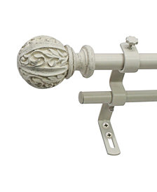 Montevilla 5/8-Inch Leaf Ball Double Curtain Rod, 26 to 48-Inch, Distressed White