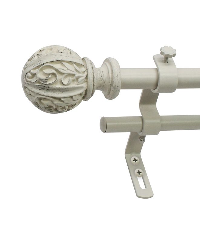 Decopolitan Montevilla 5/8-Inch Leaf Ball Double Curtain Rod, 26 to 48-Inch, Distressed White