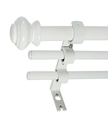 3/4-Inch Triple Telescoping Curtain Rod Set, 42-120-Inch, White