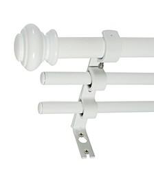 3/4-Inch Triple Telescoping Curtain Rod Set, 42-120-Inch, White