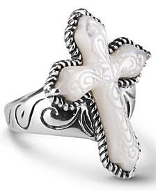White Mother of Pearl Carved Cross Ring in Sterling Silver