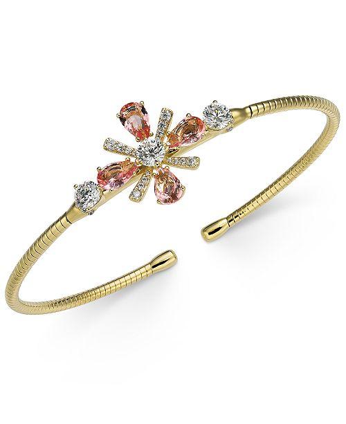 Eliot Danori Multi-Crystal Flower Cuff Bracelet, Created for Macy's