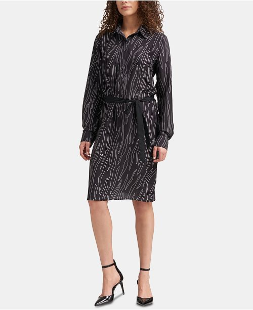 DKNY Printed Long-Sleeve Shirtdress