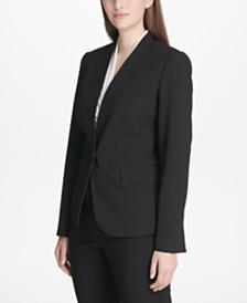 DKNY Petite Collarless Single-Button Blazer