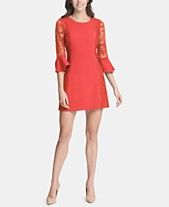 kensie Lace-Trim Bell-Sleeve Dress a9e813861