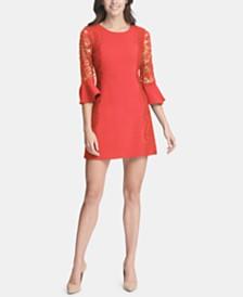 kensie Lace-Trim Bell-Sleeve Dress