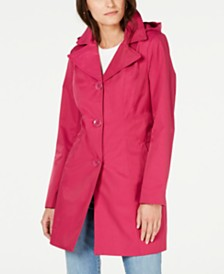 Anne Klein Water Resistant Hooded Raincoat