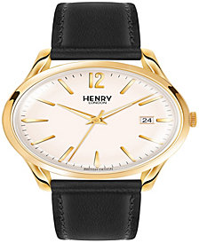 Henry London Westminster Unisex 39mm Black Leather Strap Watch with Gold Stainless Steel Casing