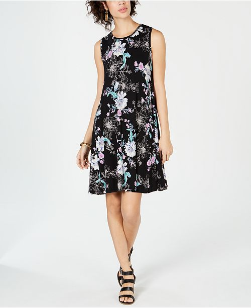 Style & Co Floral-Print Swing Dress, Created for Macy's