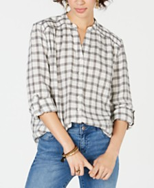 Style & Co Cotton Smocked Plaid Button-Front Top, Created for Macy's