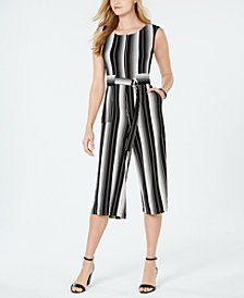 Taylor Petite Belted Striped Jumpsuit