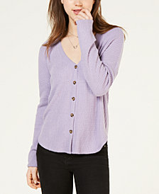 Hippie Rose Juniors' Waffle Button-Front Top