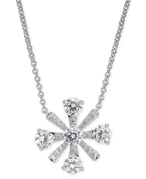 "Eliot Danori Crystal Flower Pendant Necklace, 16"" + 1"" extender, Created for Macy's"