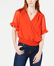 Bar III Surplice Ruffle Blouse, Created for Macy's