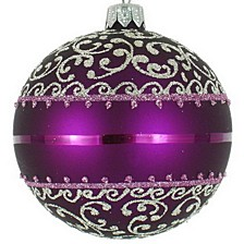 "Purple & Silver 4 Pc Set of Mouth Blown & Hand Decorated European Glass 4"" Round Holiday Ornaments"